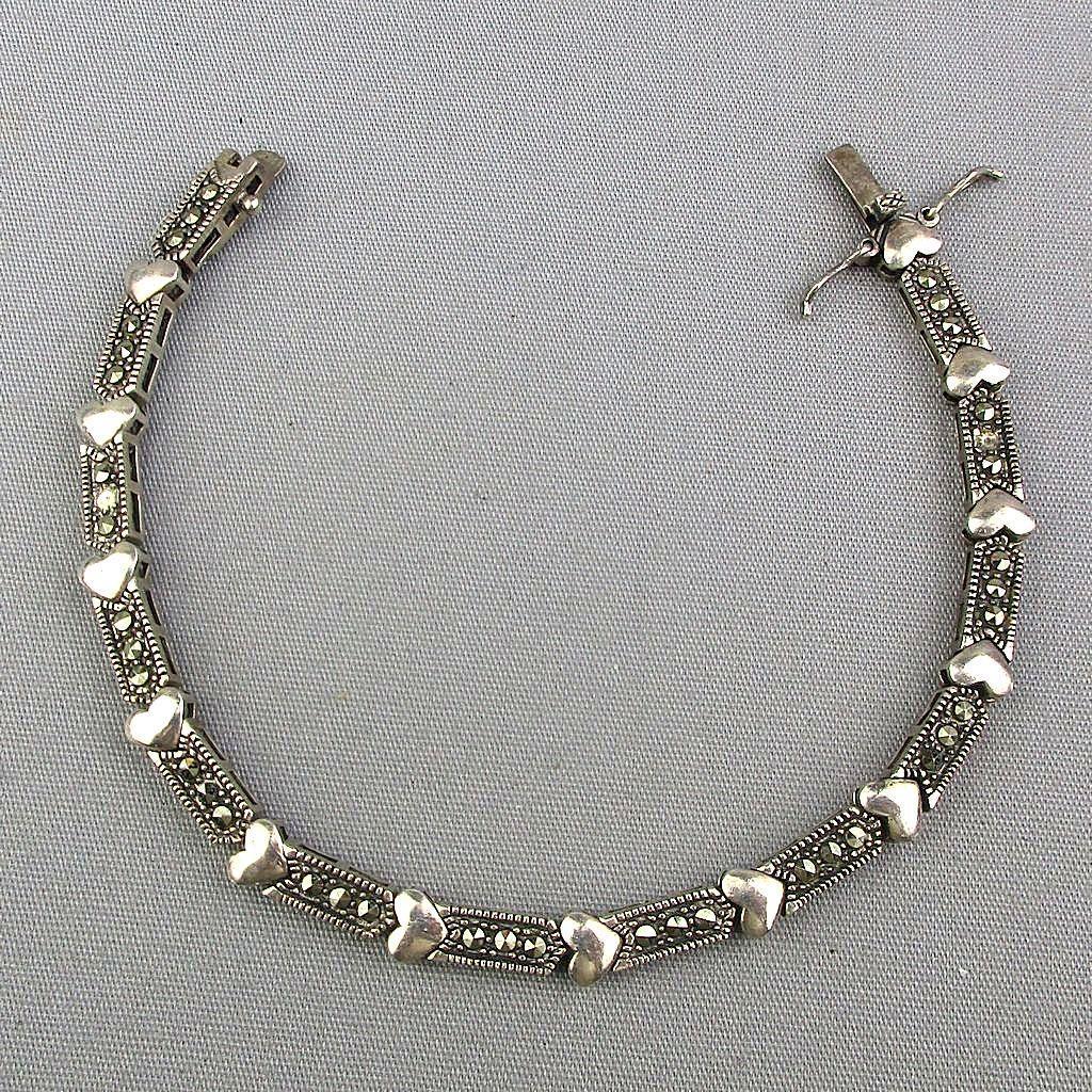 Vintage Sterling Silver Marcasite Bracelet w/ Heart Links