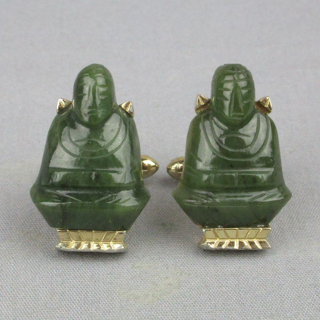 Vintage Figural Carved Jade Buddha Cufflinks