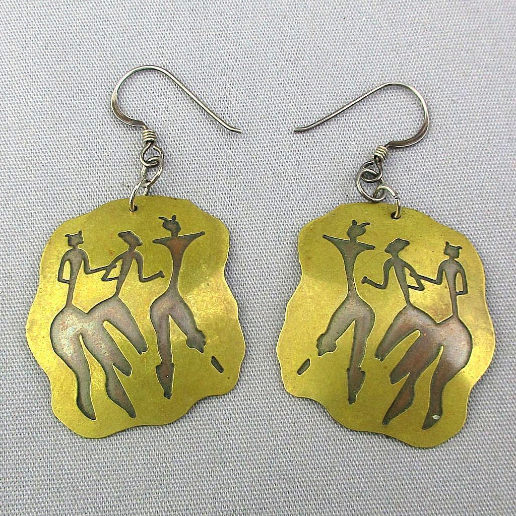 Modernist Mixed Metal Earrings Modern Dancers