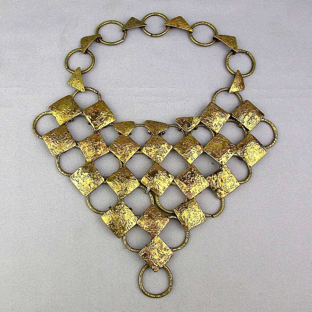 Big Gilded Mixed Metal Bib Necklace - Signed - Chainmaille Unique One