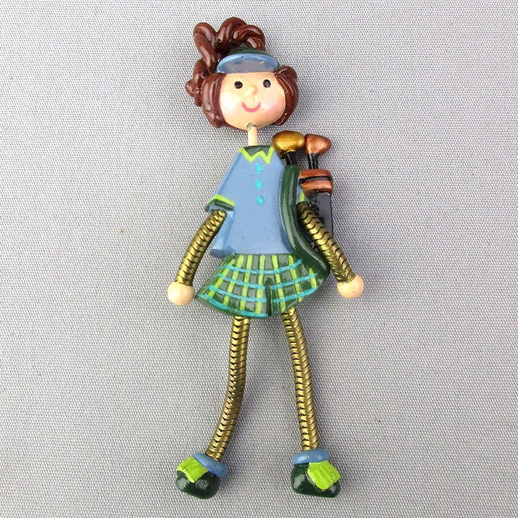 Vintage Handmade Lady Golfer Pin w/ Funny Legs