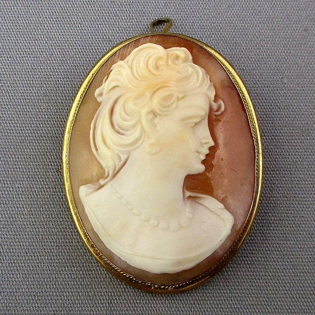 Vintage Gilded Silver Carved Shell Cameo Lady Pin or Pendant