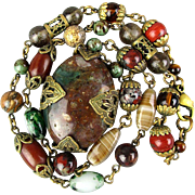 Vintage Polished Stones Necklace w/ Fancy Filigree