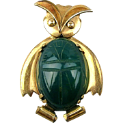 Modernist WRE Gold-Filled Owl Pin w/ Scarab Gem Jelly Belly