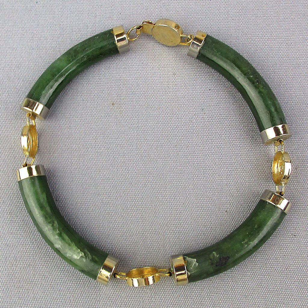 Vintage Chinese Jade Gold-Tone Link Bracelet