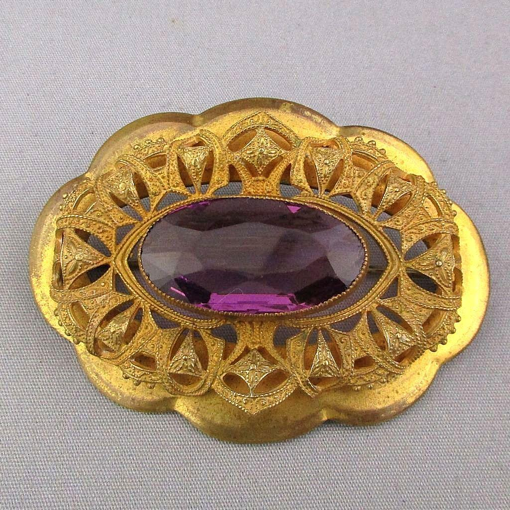 Victorian Gilded Brass Sash Pin Brooch w/ Large Amethyst Glass Stone