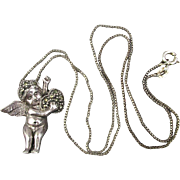 Vintage Sterling Silver Marcasite Angel Cupid Pendant Necklace