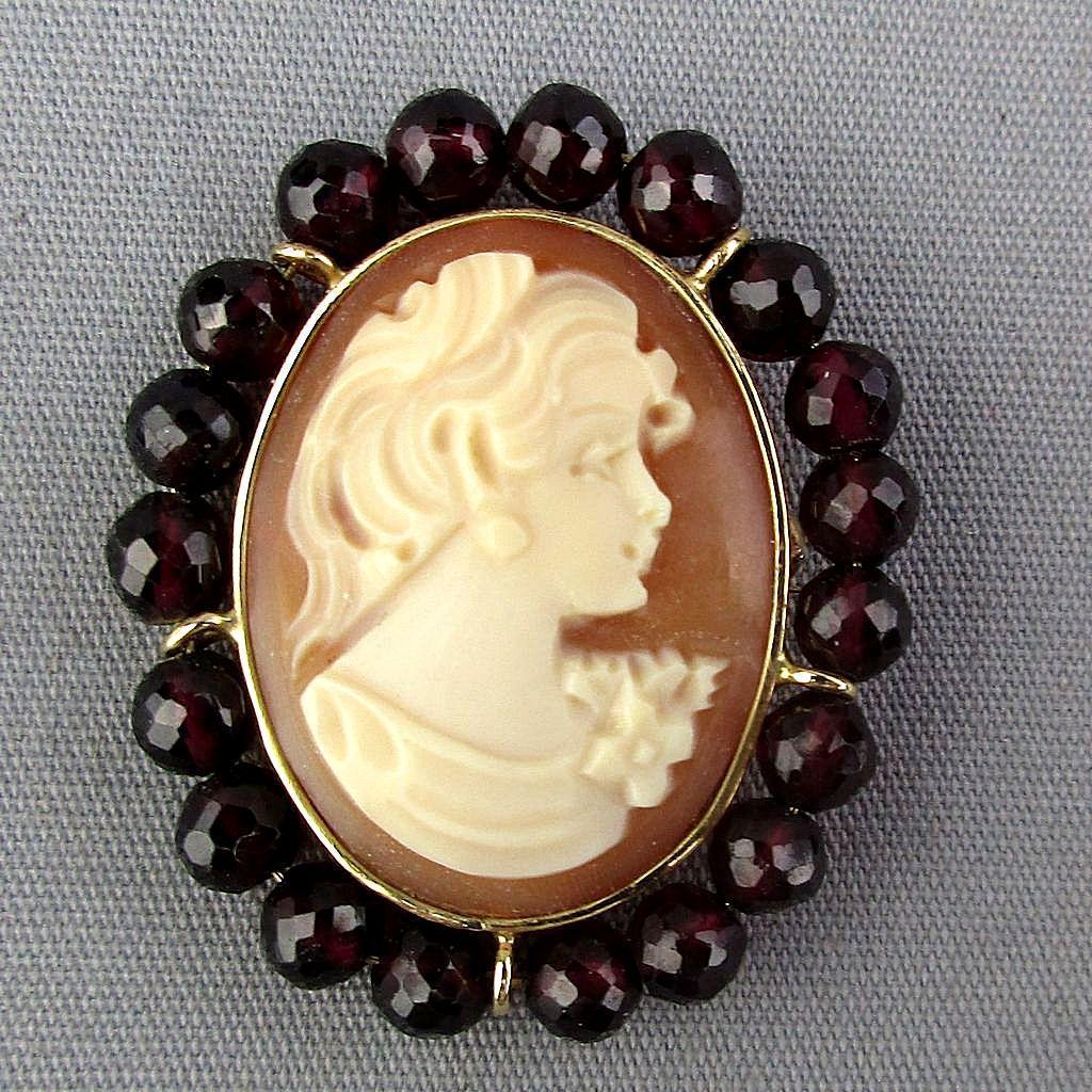 Italian 14K Gold Carved Shell Cameo Girl Pin - Pendant w/ Rhodolite Garnets