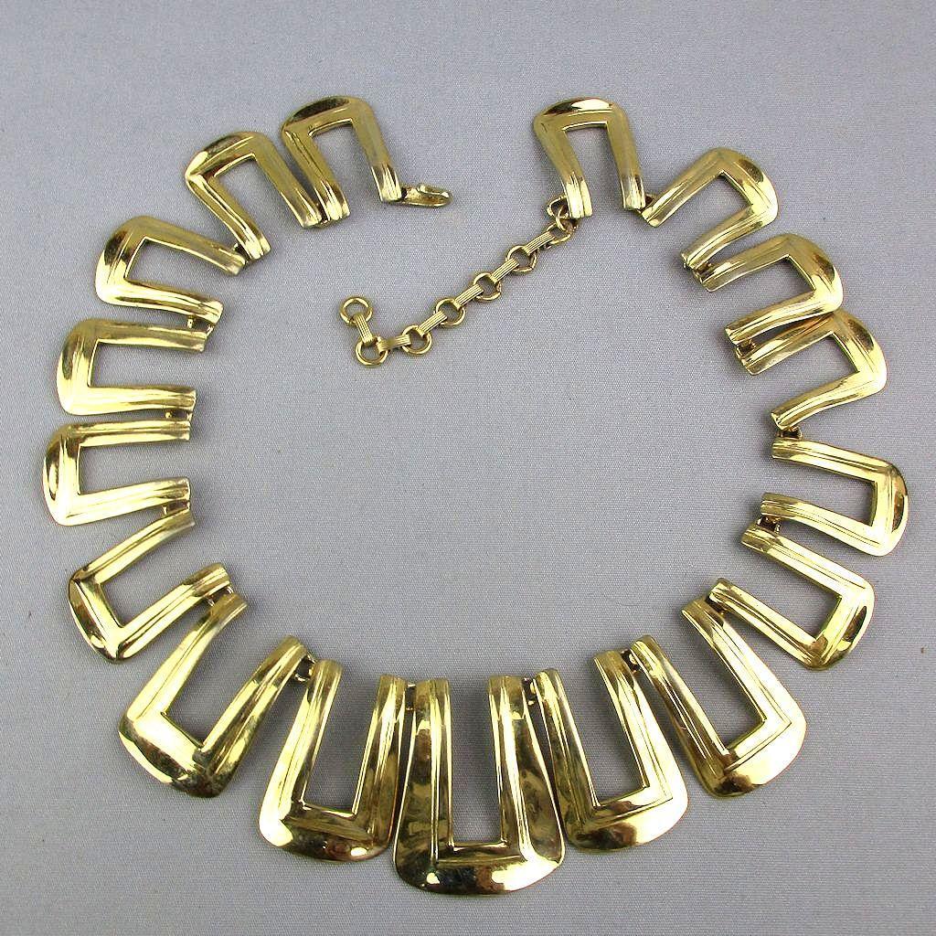 Designer Bold Goldtone Necklace Maxine Denker 1980s