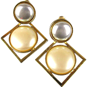 Yves Saint Laurent Faux Mabe Pearl Earrings YSL