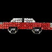 Vintage Signed DeMaria Italy Rhinestone Car Pin Brooch