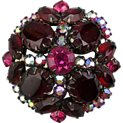Big Red Austrian Crystal Rhinestone Pin Brooch w/ Aurora Borealis