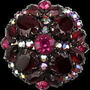 Big Red Austrian Crystal Rhinestone Pin Brooch w/ Aurora Borealis