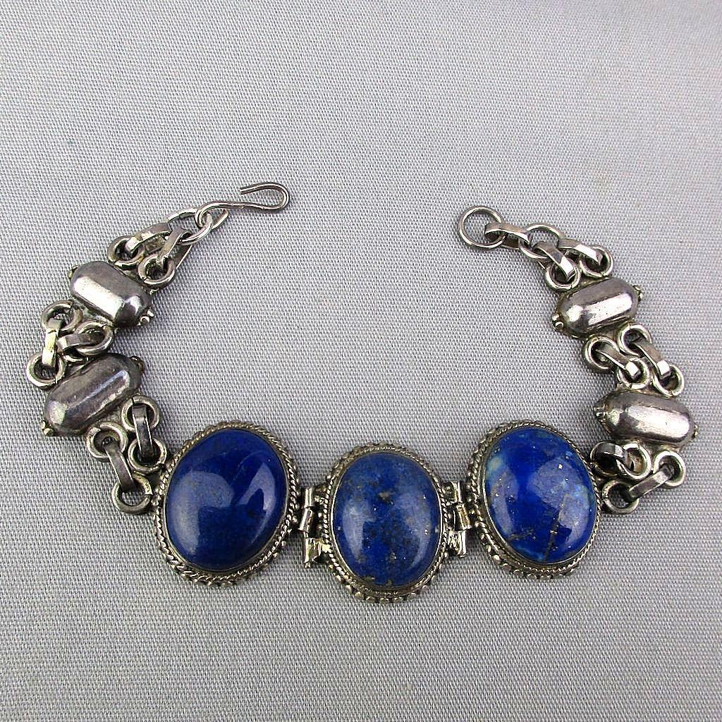 Sterling Silver Link Bracelet w/ 3 Big Lapis Stones