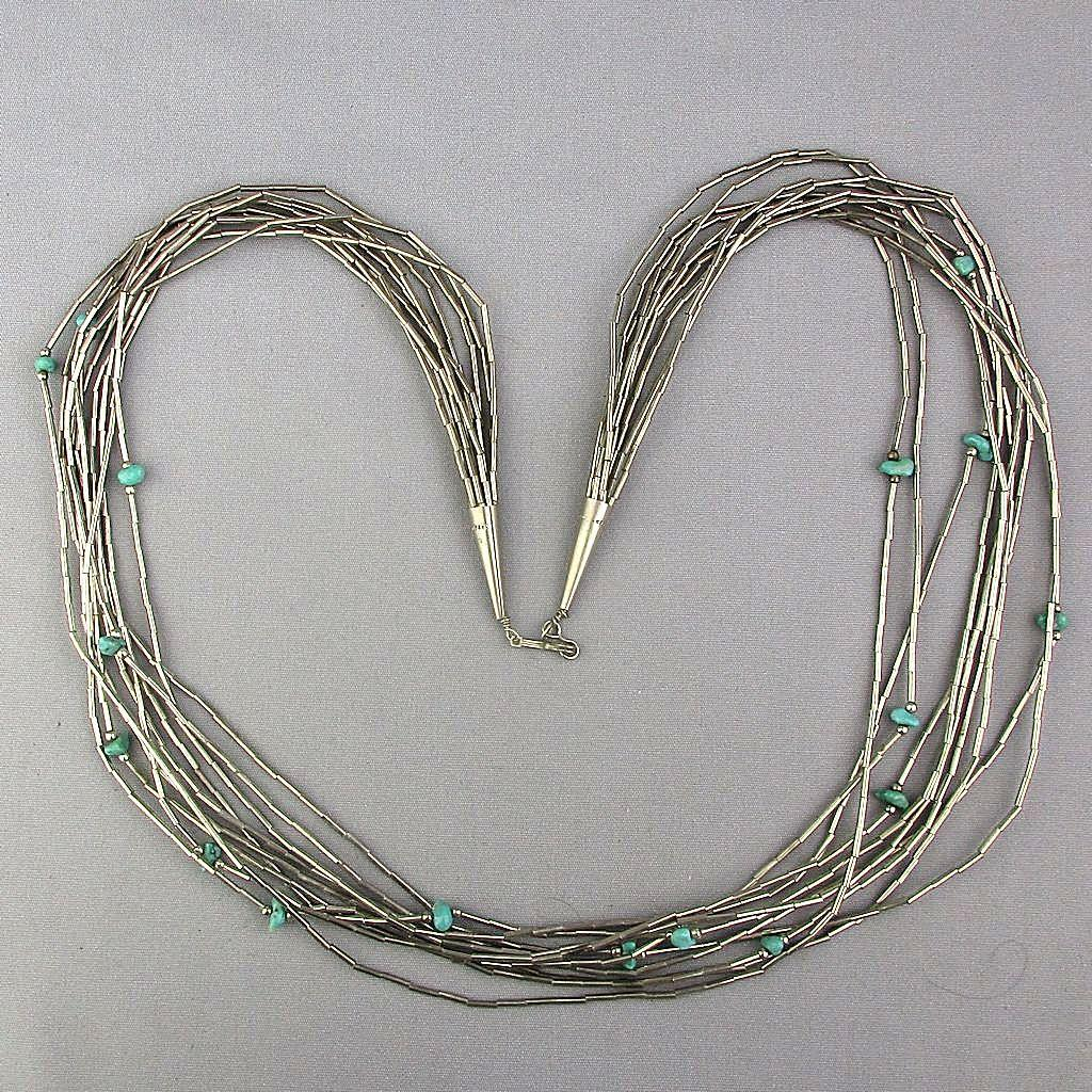 Navajo 10-Strand Sterling Silver Necklace w/ Turquoise Birds