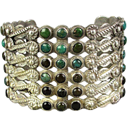 Old Silver Products Coin Silver Cuff Bracelet Turquoise - Wide 'n Fine