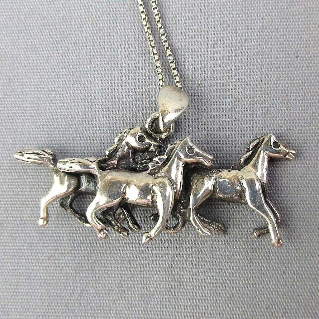 Vintage Sterling Silver Wild Horses Pendant Necklace
