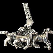 Vintage Sterling Silver Wild Horses Pendant Necklace
