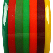 Art Deco Era 7 Layer Multi-Color Bakelite Bracelet Bangle
