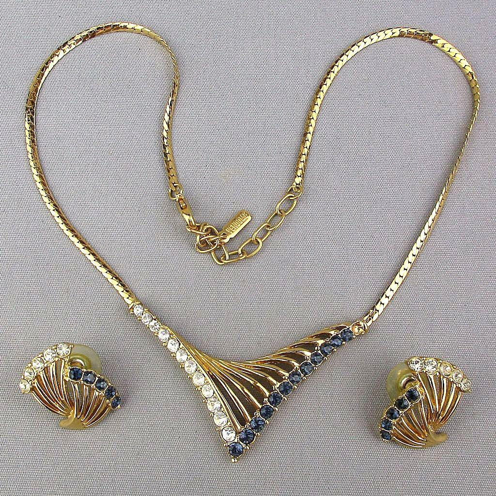 Modernist VENDOME Set Necklace w/ Earrings Rhinestone Sweep