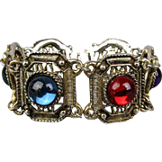 Vintage Link Bracelet w/ Colorful Glowing Lucite Cabs