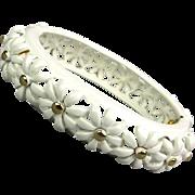Vintage Monet White Enamel DAISY Clamper Bracelet