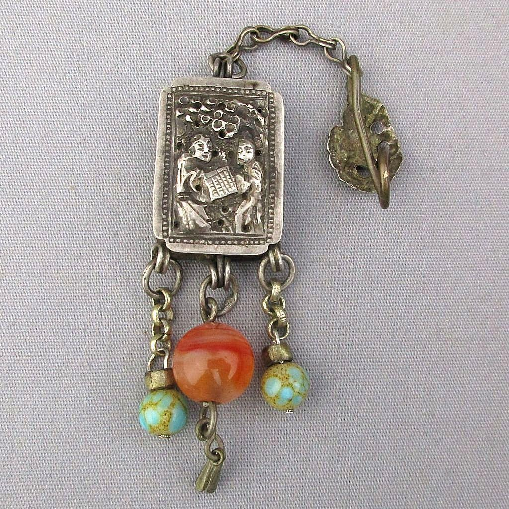 Antque Chinese Silver Amulet Fragrance Box Pendant Chatelaine w/ Gem Beads