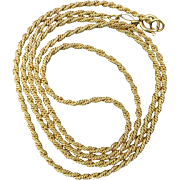 Estate Solid 14K Yellow Gold Necklace Chain 5.2 Grams Woven Twist
