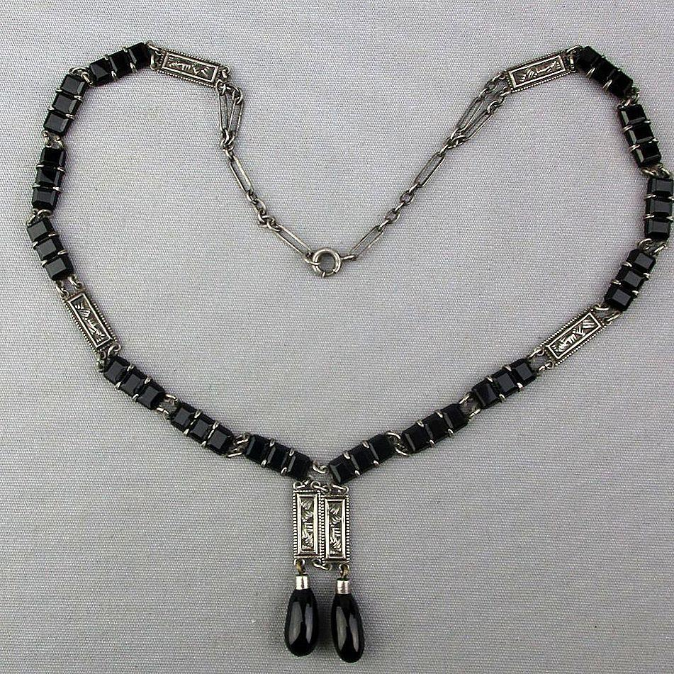 Art Deco Sterling Silver Black Jet Rhinestone Necklace
