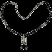 Art Deco Sterling Silver Black Jet Rhinestone Necklace