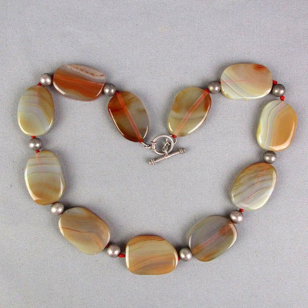 Vintage Signed Agate Stone Sterling Silver Necklace LUC Sweden