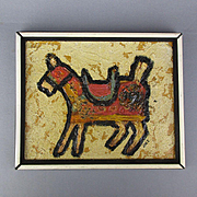 Vintage Primitive Style Painting of a Horse Signed JOEZ