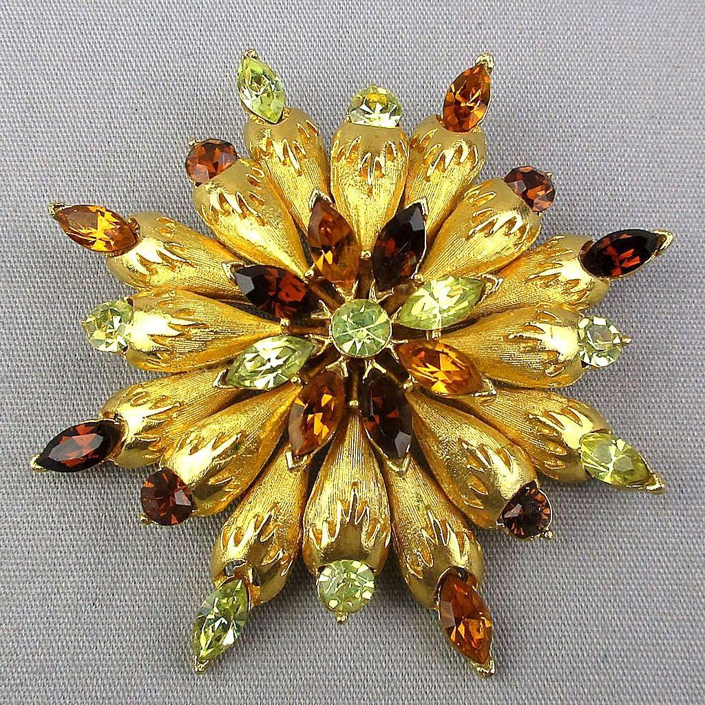 Vintage CORO Rhinestone Starburst Pin Brooch