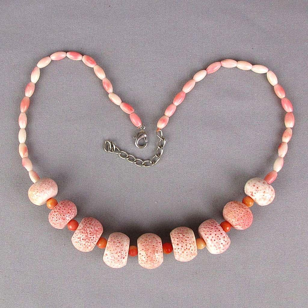 Big Sponge Coral Beads Necklace w/ Angel Skin Coral Beads