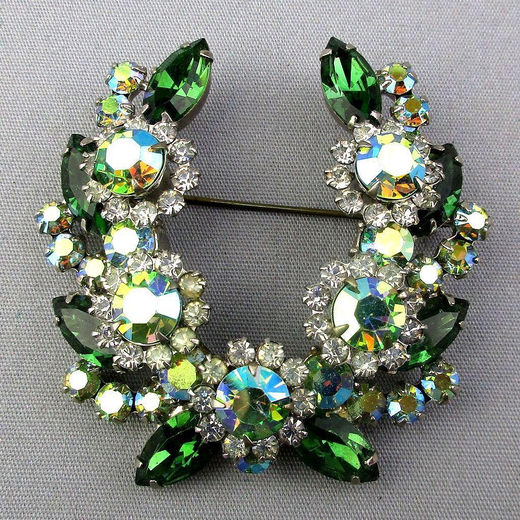 Vintage AB Crystal Rhinestone Pin