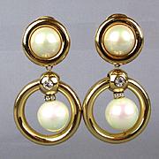 Christian Dior Faux Gold Pearl Rhinestone Clip Earrings Bold Dangles
