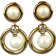 Christian Dior Faux Gold Pearl Rhinestone Clip Earrings Bold Dangles