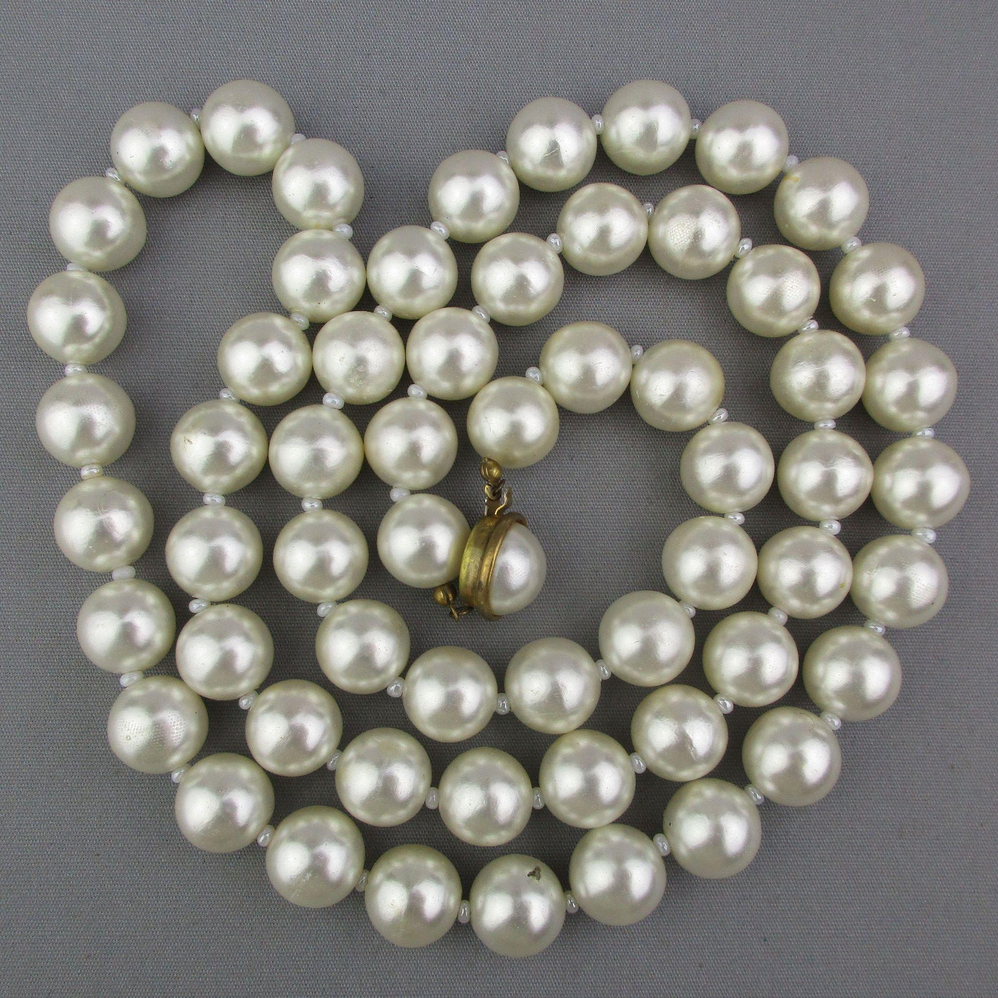 Long Vintage Miriam Haskell Faux Pearls Necklace 12mm