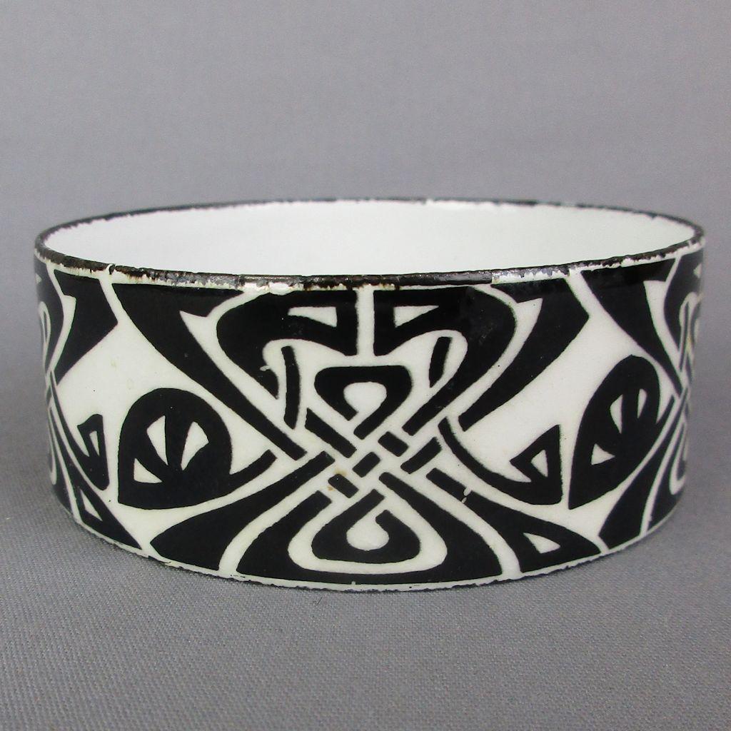 Vintage Enamel Bangle Bracelet Art Nouveau Design Arts & Crafts 1970s