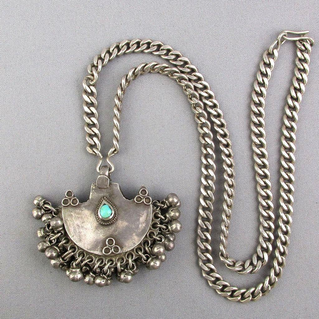 Old Sterling Silver Rajasthan Necklace Pendant w/ Bells Turquoise