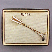 Vintage SWANK Golf Clubs MOP Gold-Plated Tie Clasp Clip w/ Orig. Box