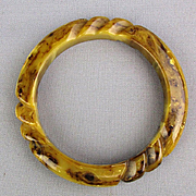 Vintage Carved Bakelite Bangle Bracelet End-of-Day Neutral Colors