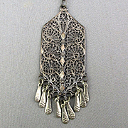 Intricate 1950s Sterling Silver Filigree Pendant Necklace Handmade Israel