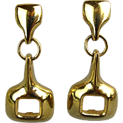 Vintage Givenchy Stirrup Dangle Earrings Gilded Pierced