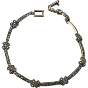 Sterling Silver Marcasite Bracelet w/ ~X~ Kiss Links