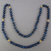 Estate Long Necklace Lapis 10mm Beads w/ 14K Gold