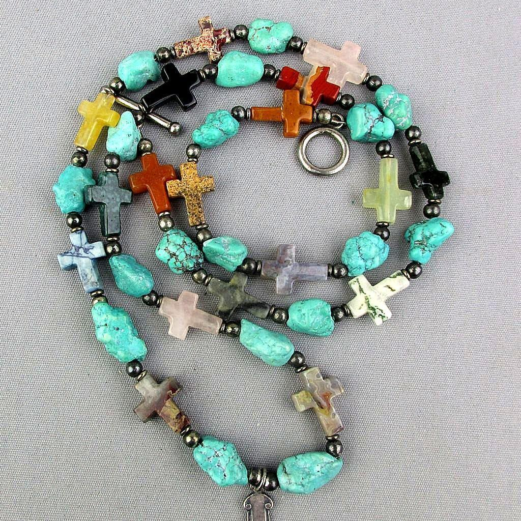 Vintage Southwest Necklace Genuine Gemstones - Sterling Silver Cross Turquoise