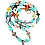 Vintage Southwest Necklace Genuine Gemstones - Sterling Silver Cross Turquoise
