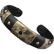 Old Black Cuff Bracelet w/ Inlaid Sterling Silver Etched - Studded