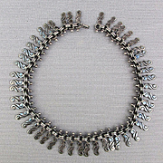 Old Heavy Taxco 950 Silver Necklace RCH for Emma Melendez Eagle 3 Mexico